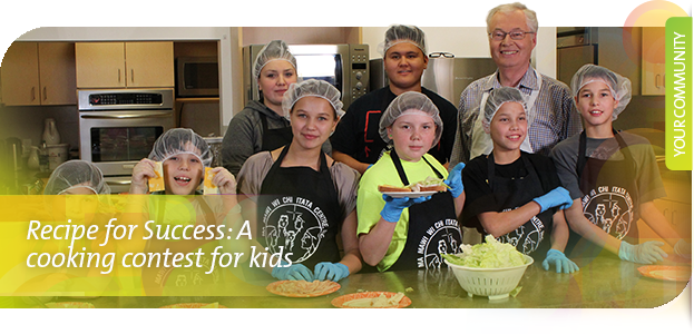 Winnipeg's Rick Frost and youth preparing sandwiches for Receip for Success