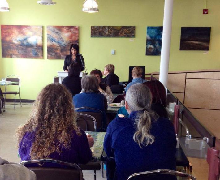 Lisa Delorme Meiler delivering her artist talk on February 8, 2014
