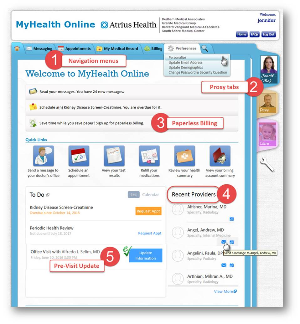 New Features on MyHealth Online