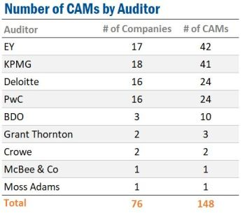 Number of Critical Audit Matters (CAMs) by Auditor