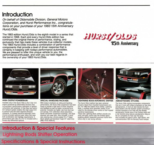 1983 Hurst/Olds booklet introduction page.