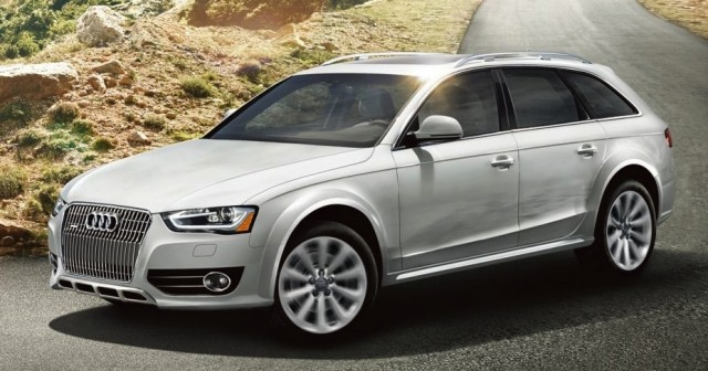 2015 white Audi Allroad wagon on the road