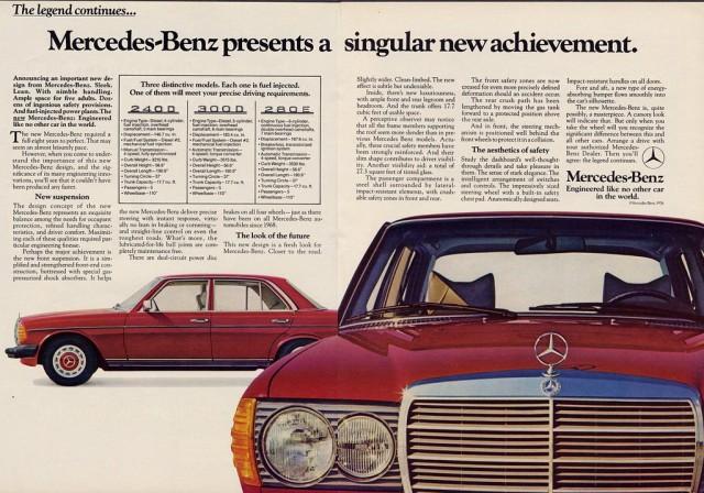 Mercedes Benz W123 sedan ad
