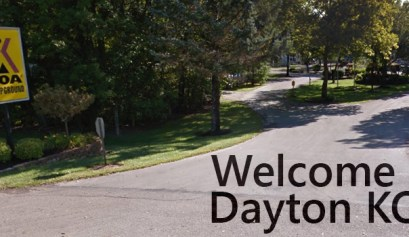 dayton koa, picture of the dayton koa front sign that says welcome to dayton koa in the bottom corner