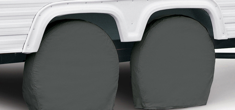 rv tire tips, picture of rv tires with tire covers over them on a white background