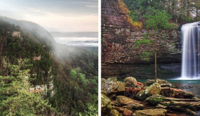 cloudland canyon, 2 picture of cloudland canyon park in georgia on the left is a overview of the hills with fog rolling in and the right is a picture of the waterfall at cloudland canyon park