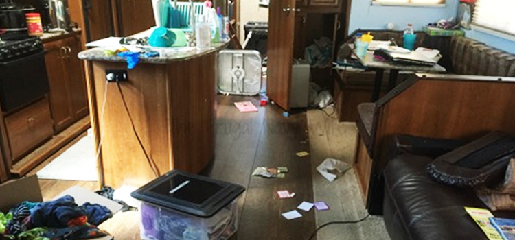 full time rv tips, picture of a messy rv interior, full time rv tips to keep your rv organized