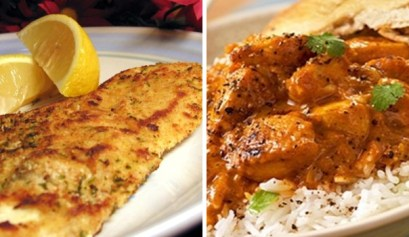 chicken recipes, picture of chicken curry and pan fried chicken next to each other, rv cooking, easy stove top rv cooking chicken recipes