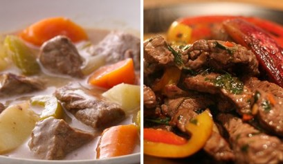 easy stove top beef recipes, picture of beef stew on the left and beef fajitas on the right, rv cooking, easy rv recipes