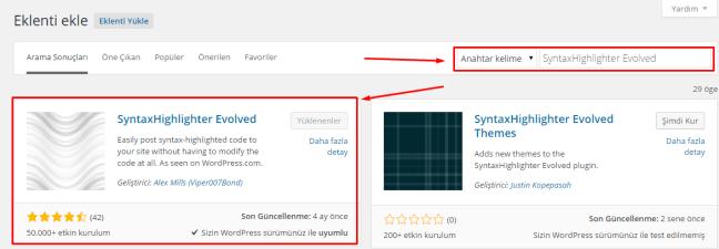 Wordpress SyntaxHighlighter Evolved Kullanımı