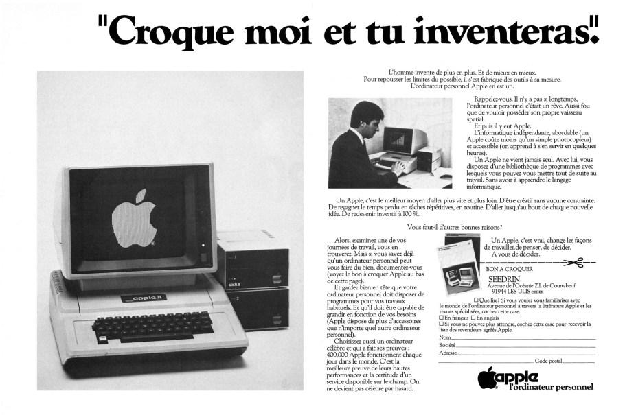 """Publicité pour l'Apple II """"Croque-moi et tu inventeras"""""""