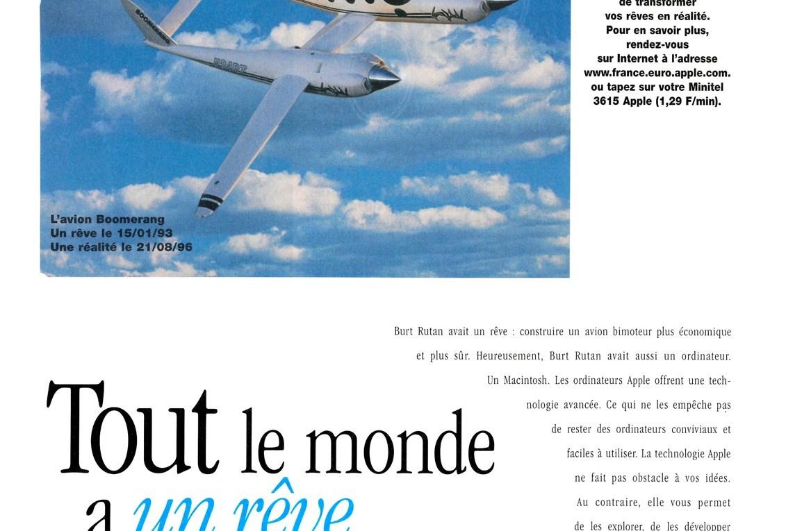 Publicité Apple : Tout le monde a un rêve (avec l'avionn boomerang de Burt Rutan)