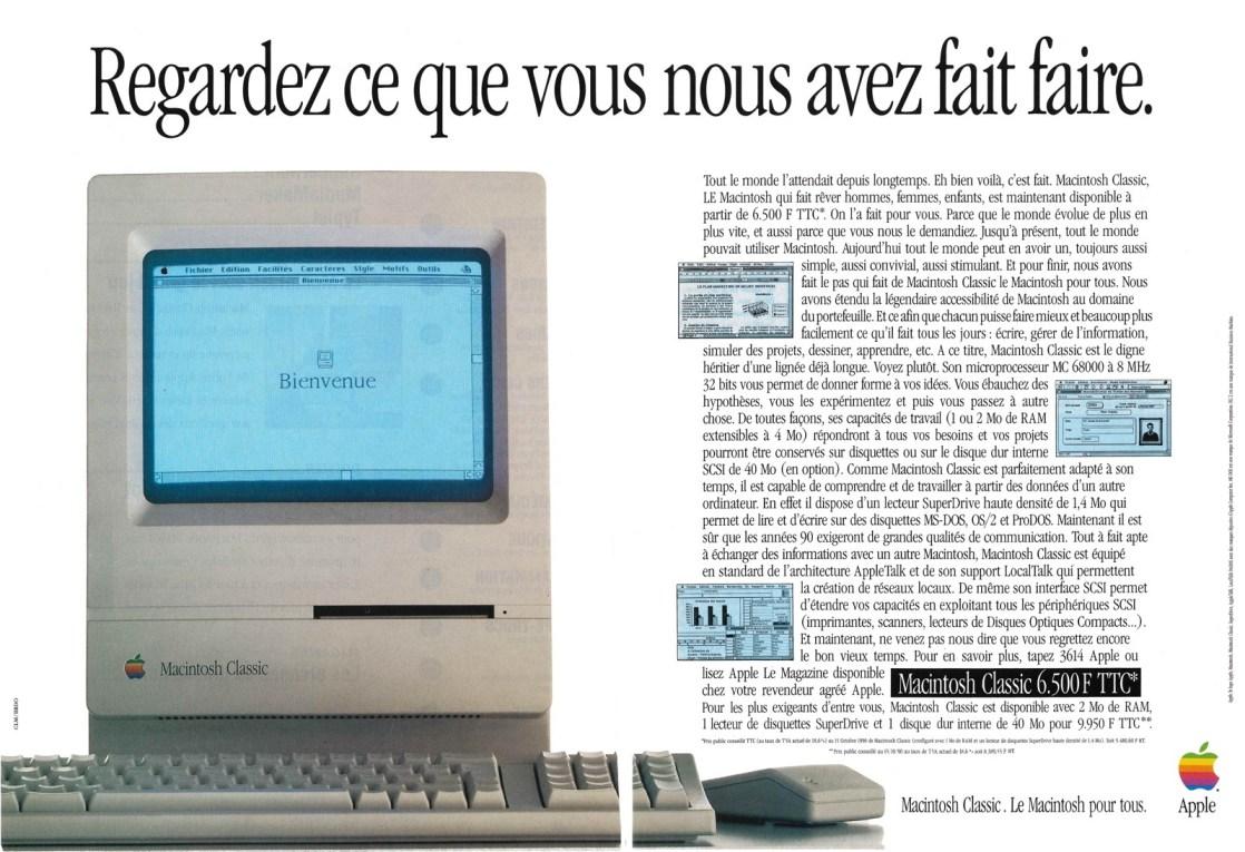 Publicité - Regardez ce que vous nous avez fait faire - Macintosh Classic
