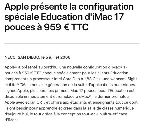 iMac 2006 Education Core Duo