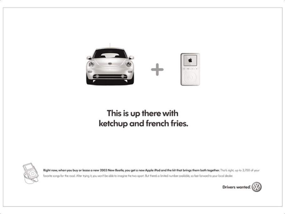 Beetle and iPod, French fries and ketchup