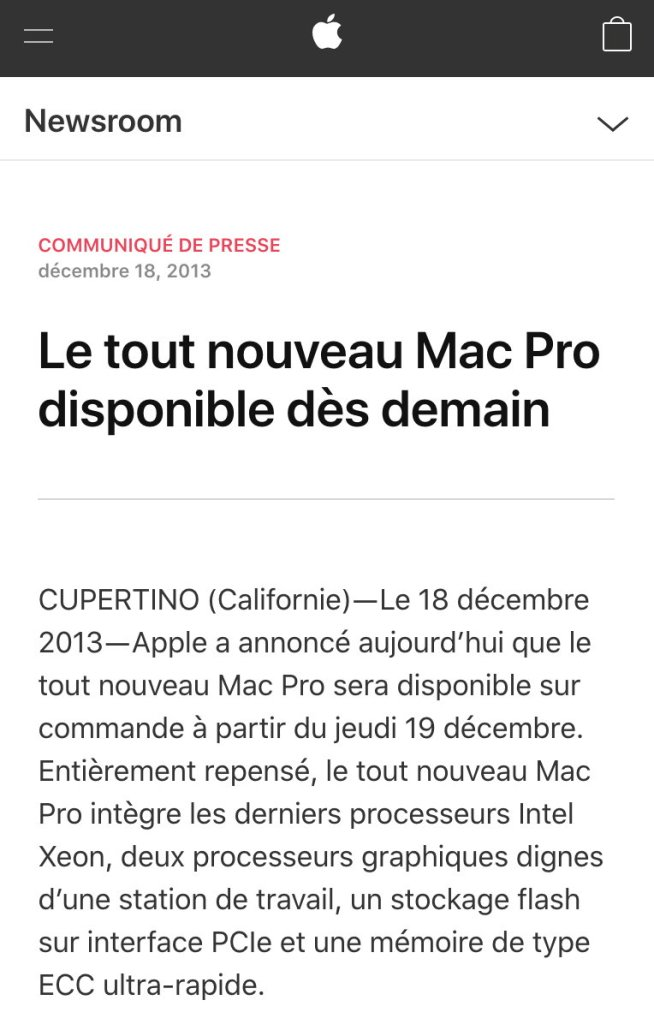 Mac Pro 2013 press release french