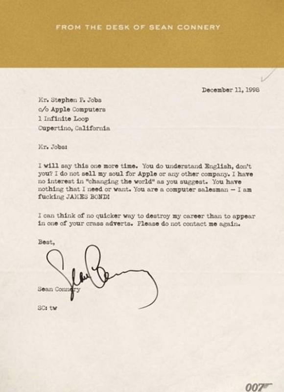 Lettre de Sean Connery à Steve Jobs