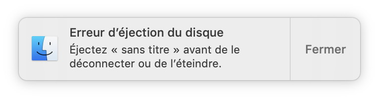 Mac OS X Erreur d'éjection de disque USB