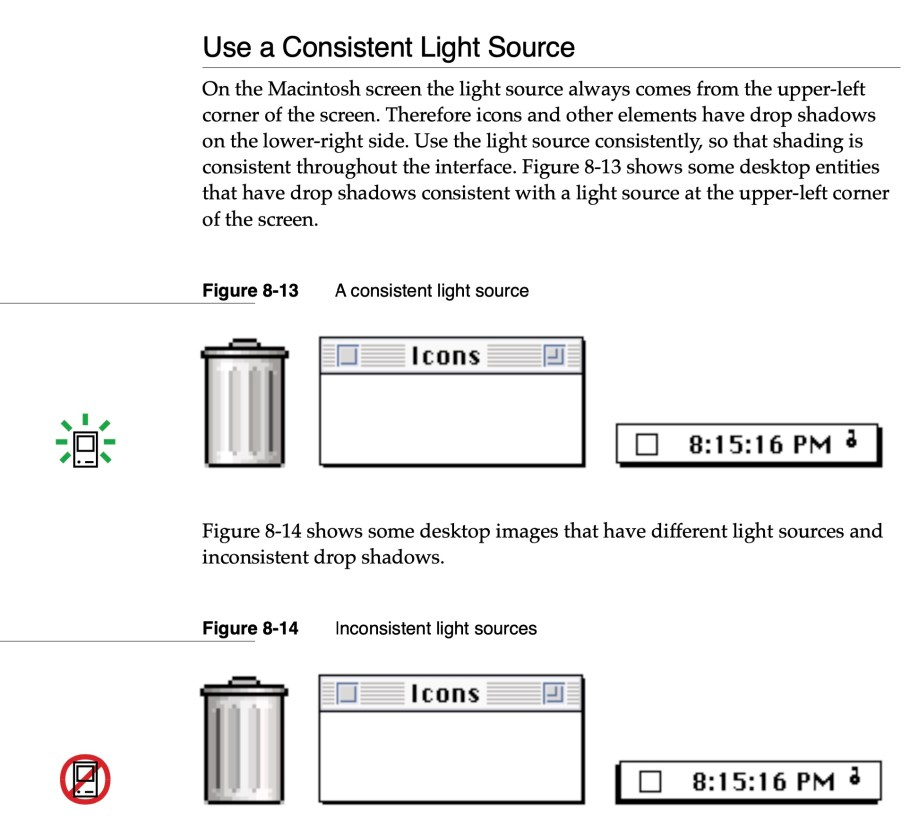 apple human interface guidelines consistent light source
