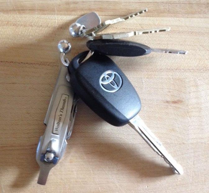 Waltons thumb size comparison to keys