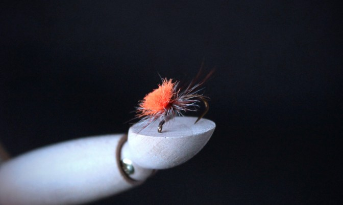 orange, fly, fly tie, fly tying, orange fly, fly fishing, parachute