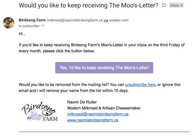 Re-engagment email to keep receiving Moo's Letter emails