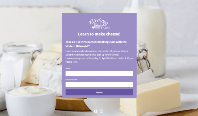 Landing page for free cheese making class