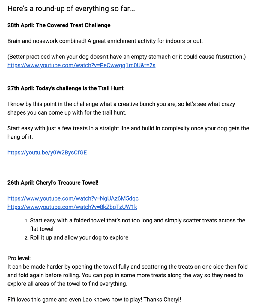Roundup email example