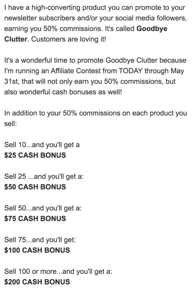 GetOrganizedNow.com email to affiliates about contest to earn a cash bonus