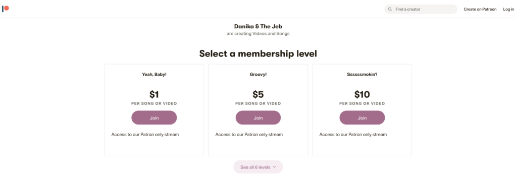 Patreon membership level web page.