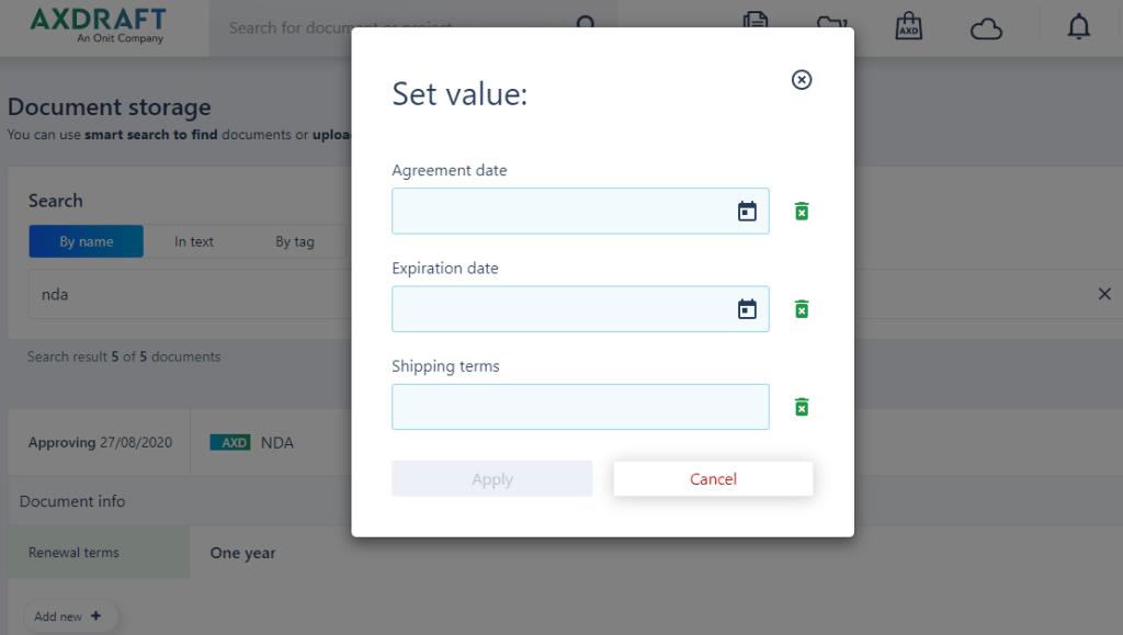 Enter the values in AXDRAFT
