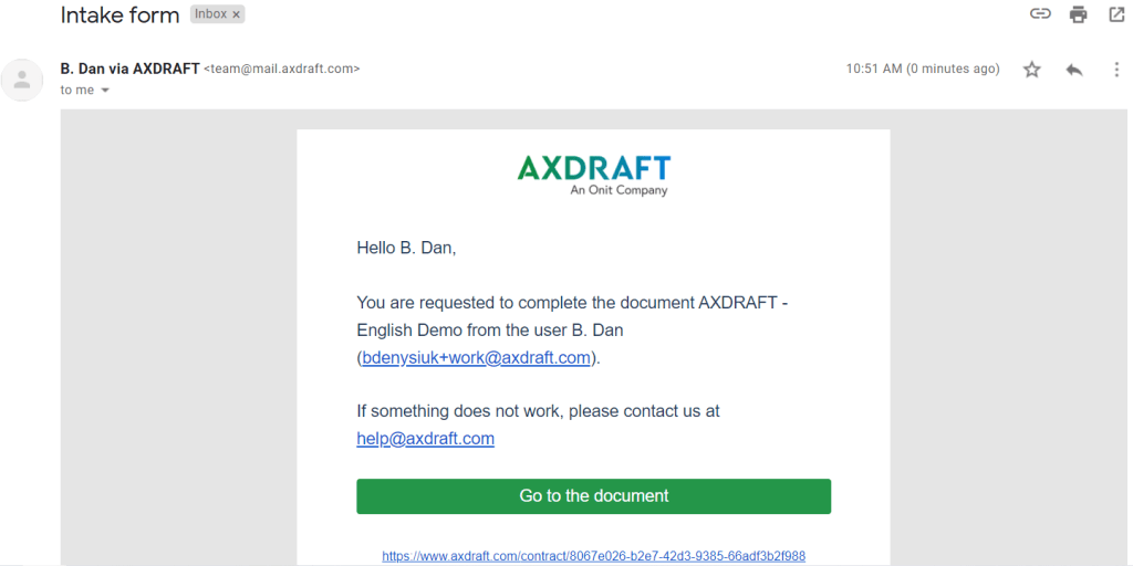AXDRAFT email with data request