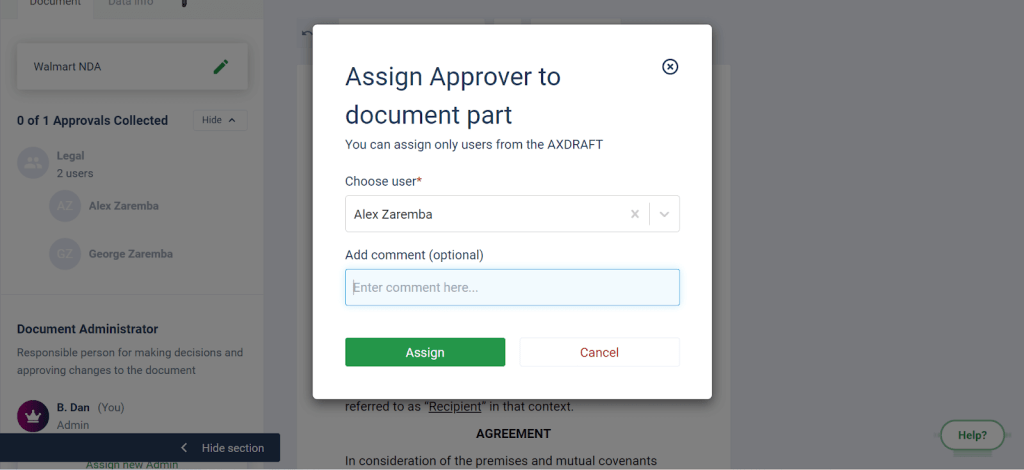 AXDRAFT Assign approver to part of text