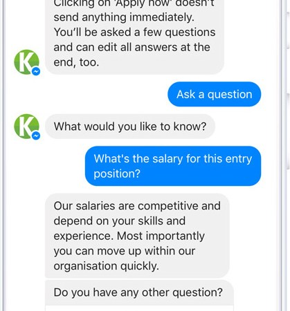 Odoo HR and Odoo recruitment Facebook chatbot