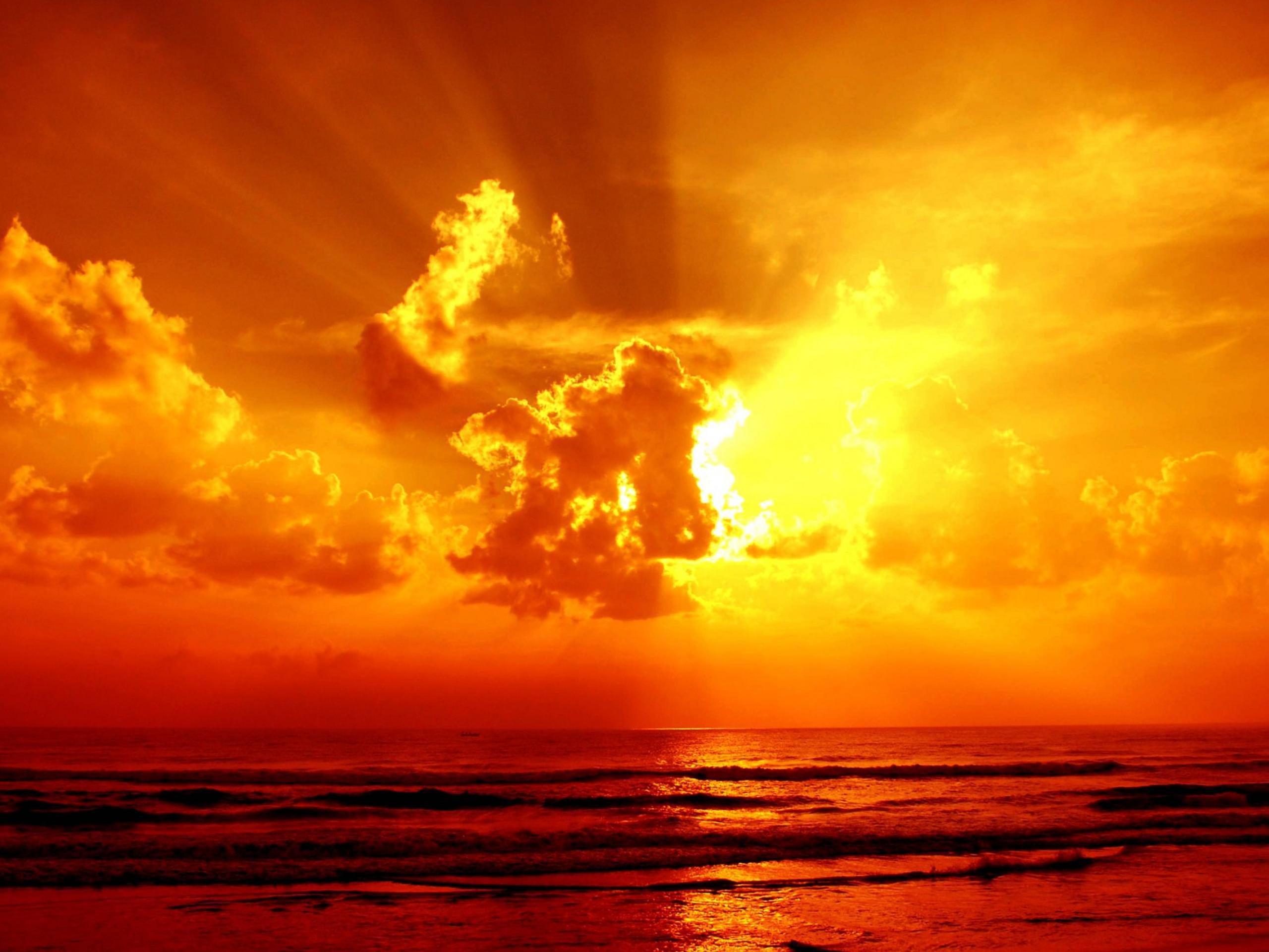 CloudsSeaOceanSkySunriseSunsetOrangeColor1920x2560