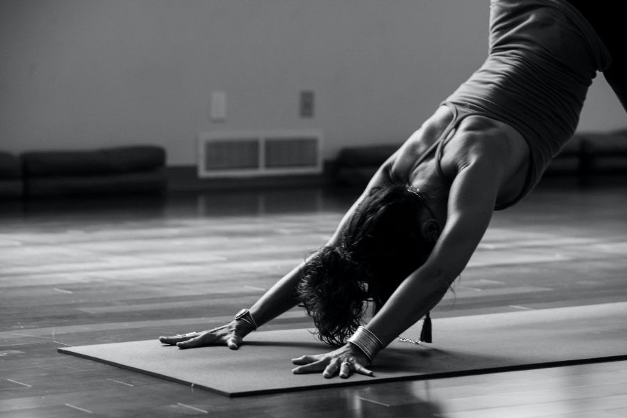 Woman performing yoga pose