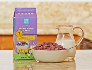 purple corn flakes organic milk breakfast