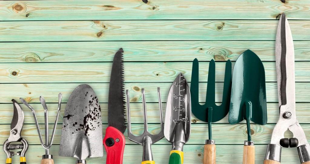 Row of gardening tools