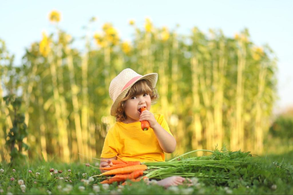 carrot seeds: baby girl eating carrots