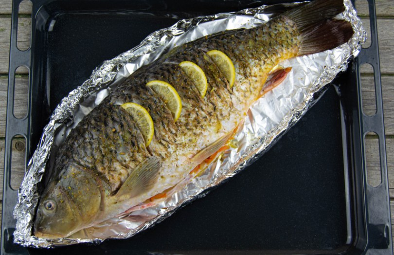 Whole carp ready for the oven