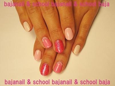 春のジェルネイルはバレンタインのピンク色