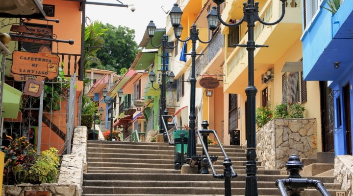 Street with stairs and colourful houses in Guayaquil, Ecuador