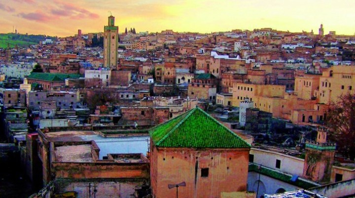 View from a rooftop of the city of Marrakech; Morocco