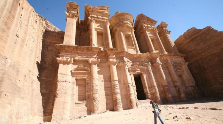 Archaeological site called Petra in the desert of Jordan