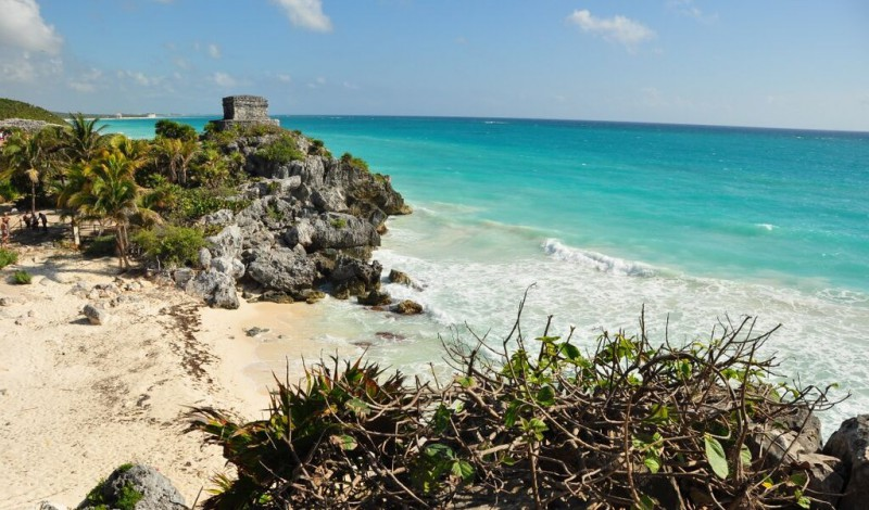 Pyramids on the beach in Tulum, Mexico