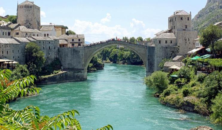 A view from the Old Bridge overlooking the Neretva River-Main Rivers in Europe