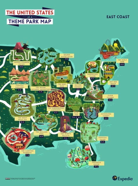 Theme Park Map- The East Coast USA