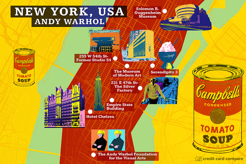 Andy Warhol- Famous artists draw their hometown maps