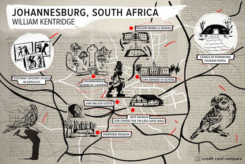 William Kentridge- Famous artists draw their hometown maps