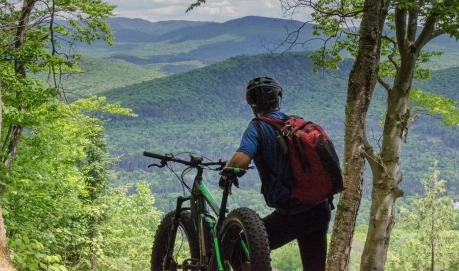 Man with mountain bike looks at mountainous view in Canada